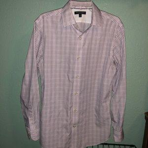 Banana republic slim pink checkered shirt
